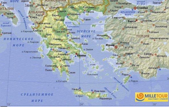 Греция на карте мира на