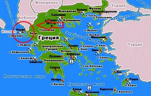 Остров Корфу на карте Греции и