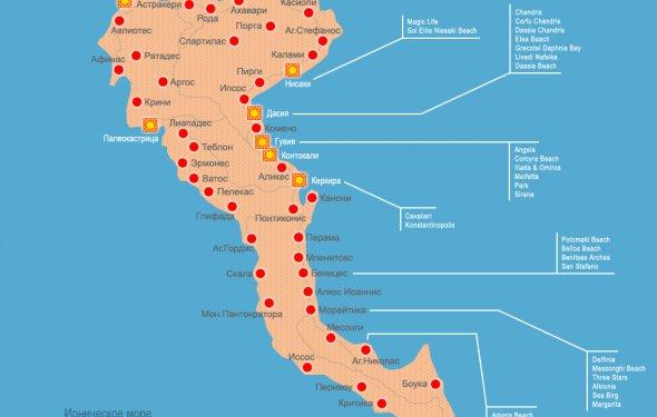 карта Греции; Корфу - карта